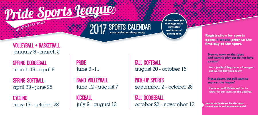 Pride Sports League Calendar