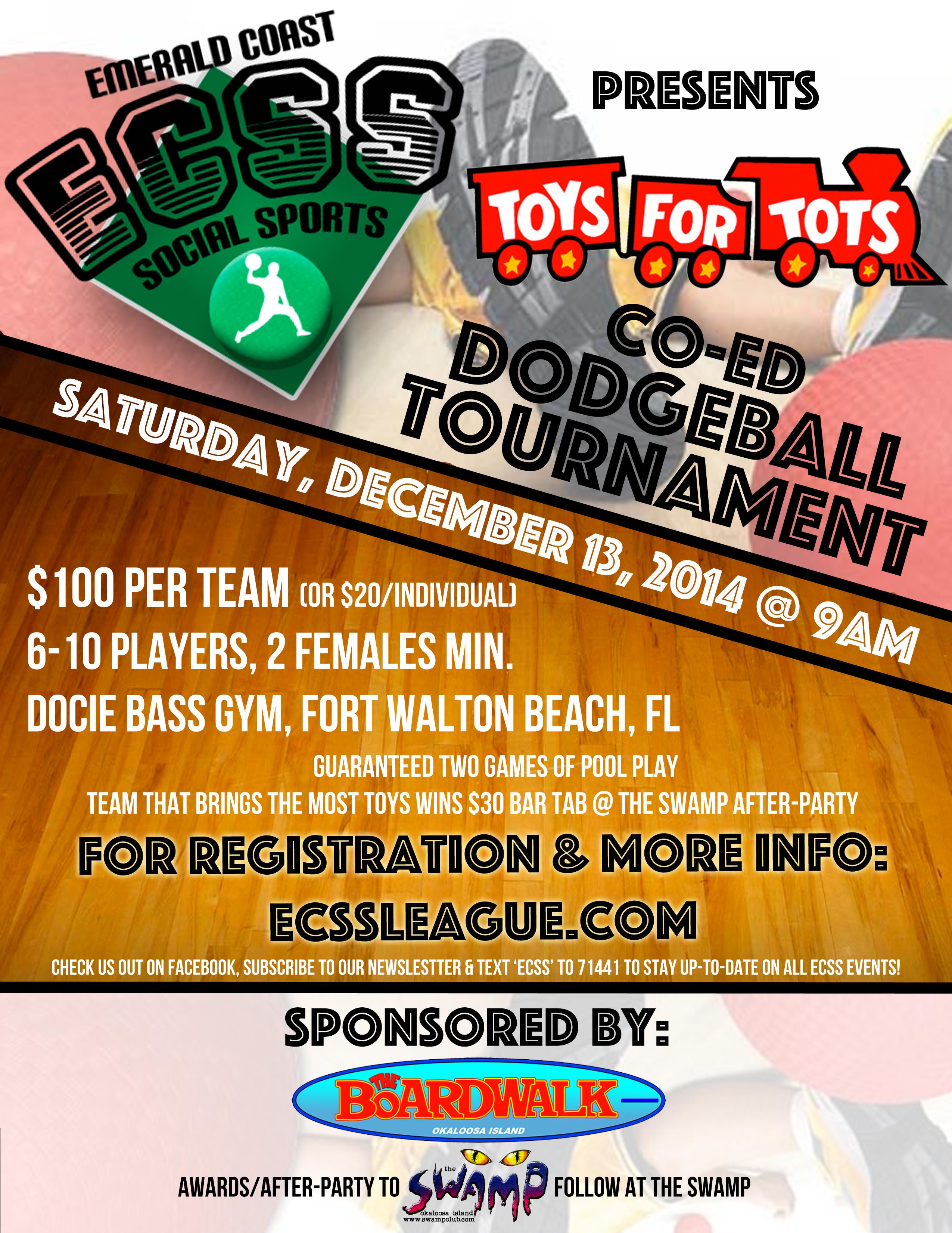 Toys For Tots Registration : Toys tots charity coed dodgeball emerald coast social