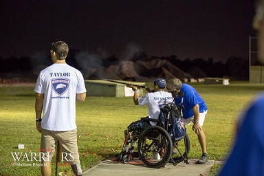 Wounded Warrior taking rifle shots