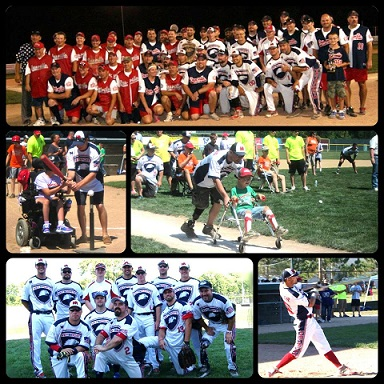 (Muti-photo pack) Photo 1, Warriors baseball team photo; Photo 2, Child in wheelchair being set up to hit tee ball; Photo 2, Child in wheelchair being pushed across homebase; Photo 4, Wounded Warriors baseball team photo; Photo 5, Homerun hit by the Vetsports baseball team.