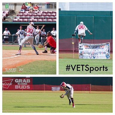 (Muti-Photo pack) Photo 1, Wounded warrior up to bat; Photo 2,Wounded warrior making epic catch #Vetsports; Photo3, Wounded warrior making on the run catch in the baseball out-field.
