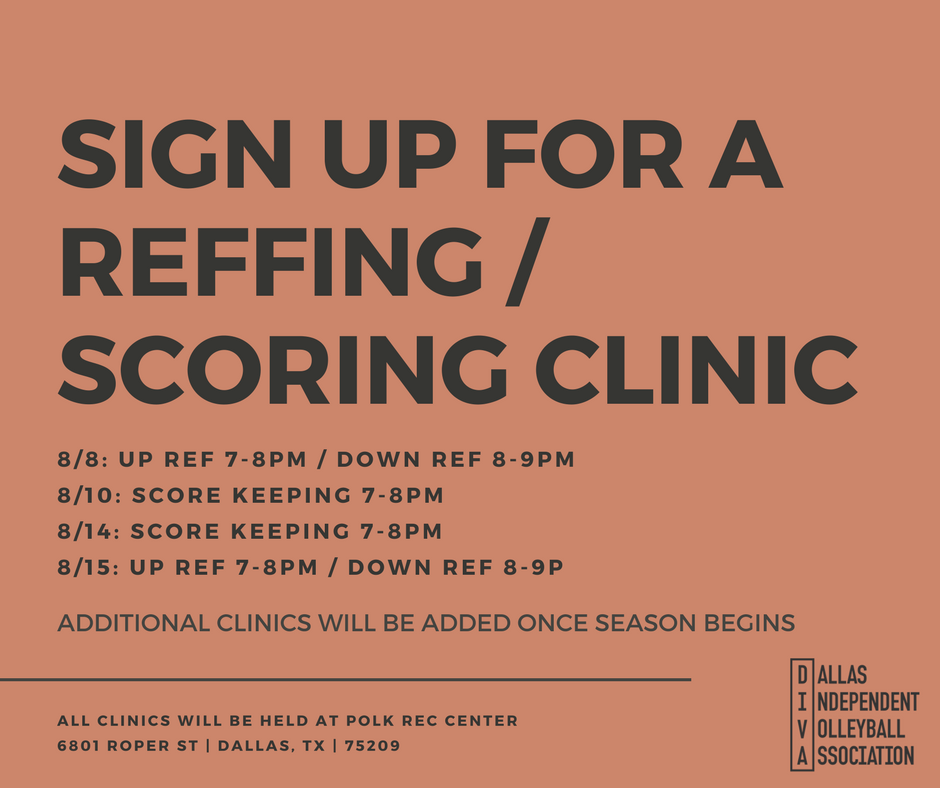 Register for Reffing and Scoring Clinics