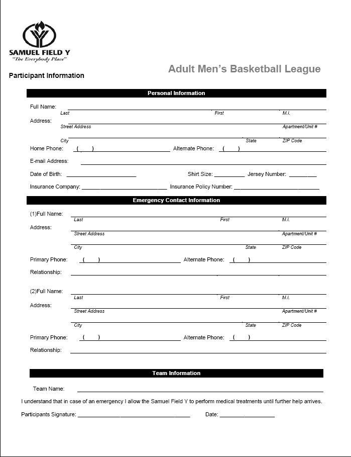 Samuelfieldyadultbasketballleague  League Forms  Samuel Field Y