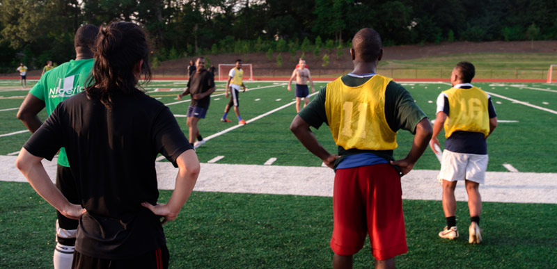 Soccer players at an Atlanta pickup soccer game