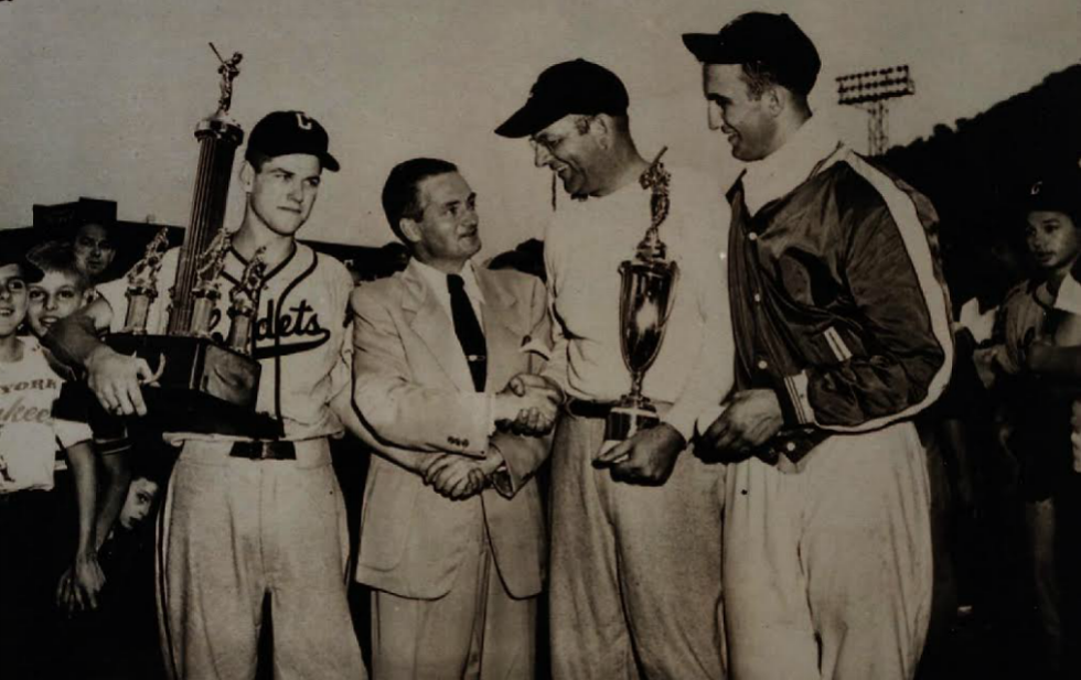 1950 AABC Champions. Present in picture are Jim McElroy, AAABC President, Dan Hill and Frank Torre.