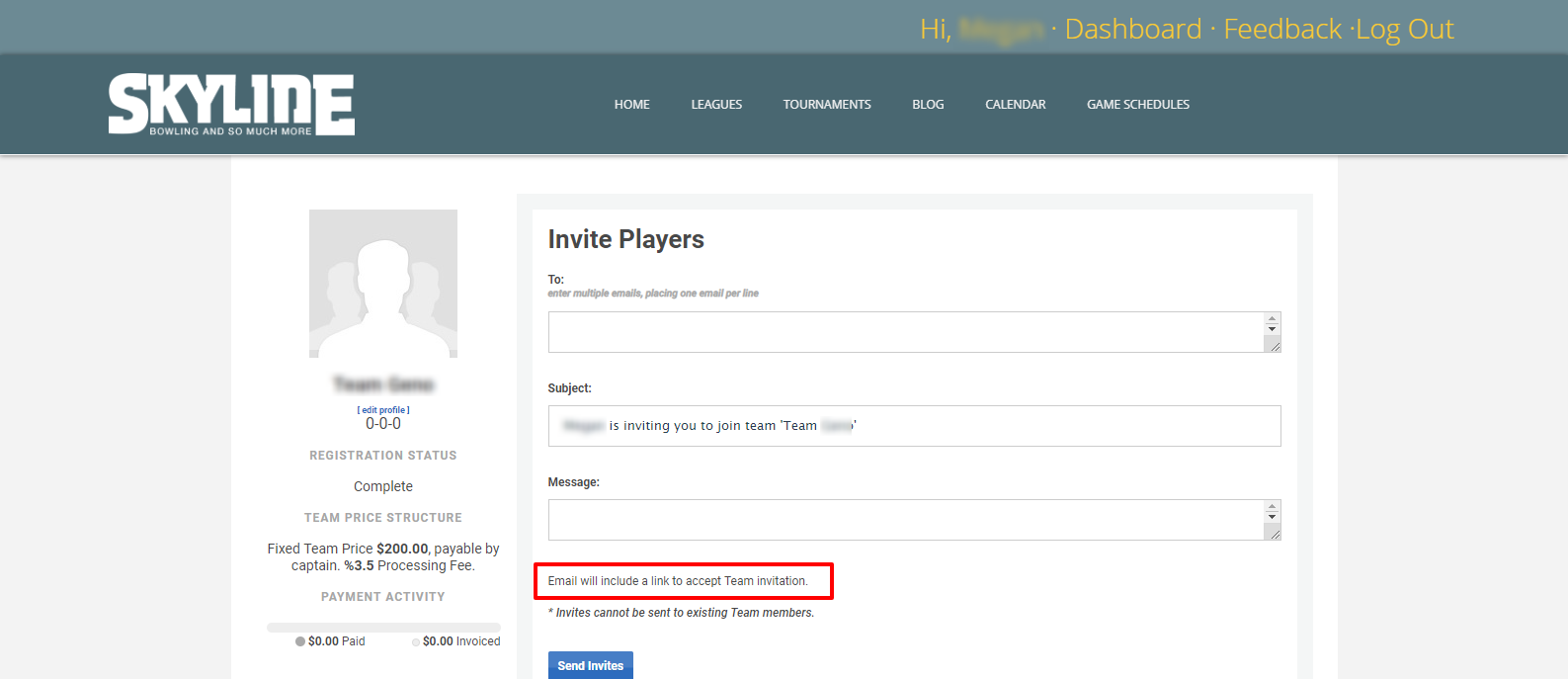How To Invite Players or Create Roster - Step 6 Form Ask to Accept Invite