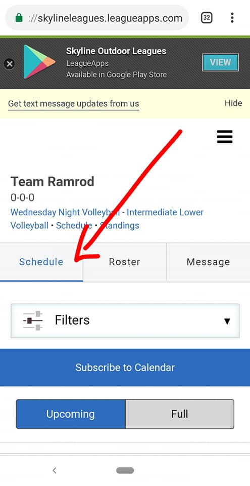 Find your volleyball schedule in your dashboard - step two