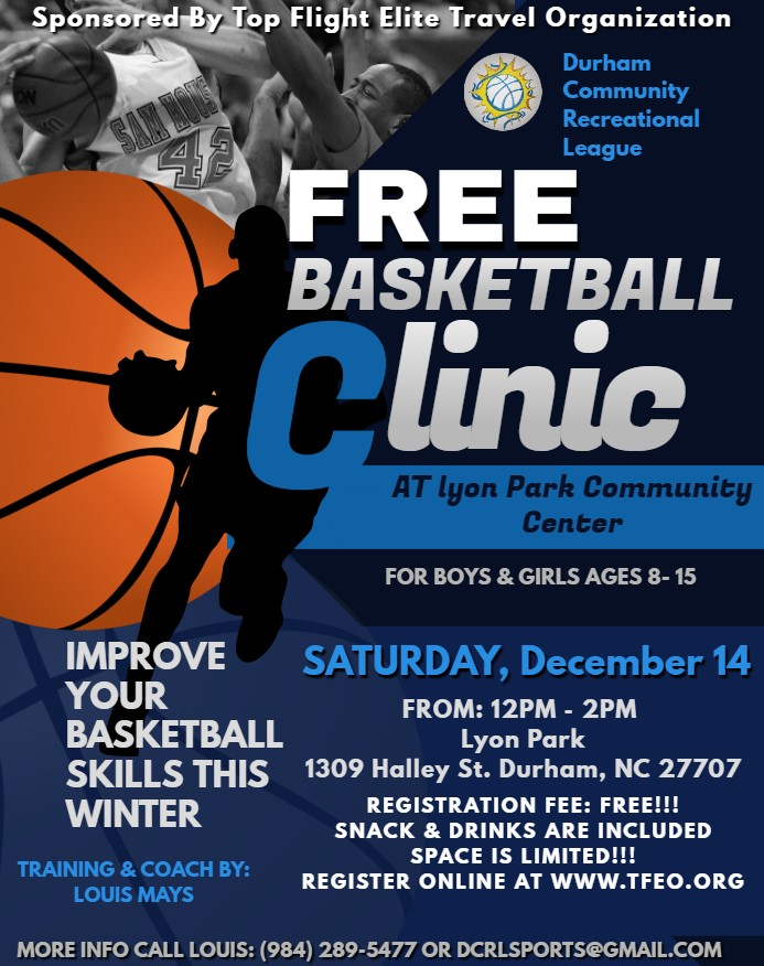 FREE BASKETBALL CLINIC DEC. 14 AT 12PM