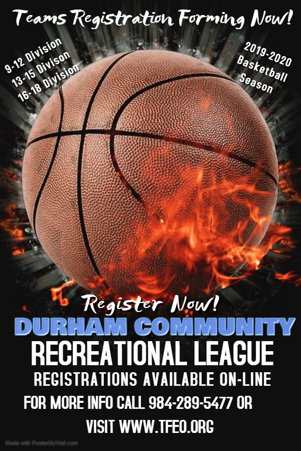 REGISTER TODAY FOR DURHAM COMMUNITY RECREATIONAL LEAGUE