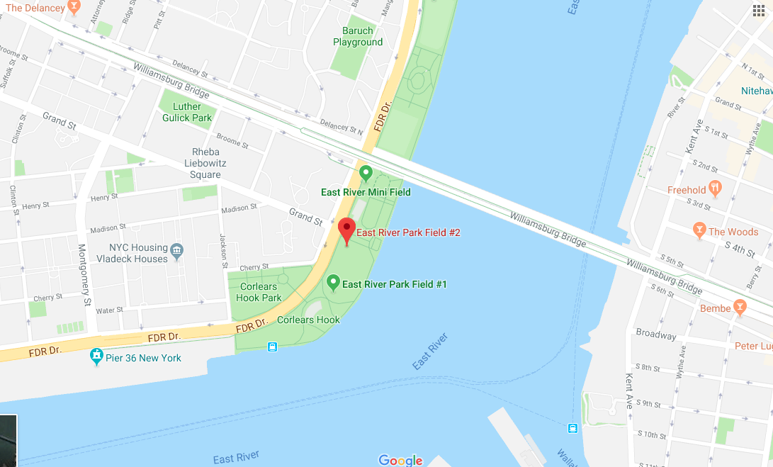 Location details for East River Park, Field 2 (at Grand St ... on hudson river, upper east side, hell gate bridge, brooklyn heights, battery park, williamsburg bridge, manhattan bridge, map of hudson river nyc, long island sound, harlem river, rikers island, map of manhattan, hell gate, triborough bridge, map of upper east side nyc, queensboro bridge, rivers manhattan nyc, map of east village nyc, north brother island, east river park nyc, map of new york city neighborhoods, roosevelt island, south brother island, the narrows, throgs neck bridge, united nations headquarters,